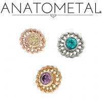 "Anatometal 18Kt Gold Threadless Virtue End 2mm Gem 18 Gauge 18g ""Press-fit"""
