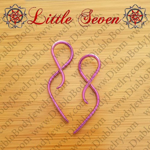 "Little Seven Niobium mini ""Goddess"" Hanging Twists 12 Gauge 12g (Pair) - Click Image to Close"
