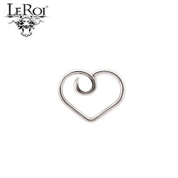 "LeRoi Surgical Steel ""Divine"" Heart Daith Ring 20 Gauge 18 Gauge 16 Gauge 20g 18g 16g"