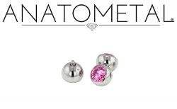 "Anatometal Surgical Steel 5/32"" 3/16"" Threaded Faceted Gem Ball End 16 gauge 16g"