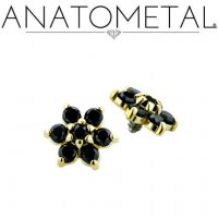 Anatometal 18kt Gold Threaded Flower End 1.5mm gems 18g 16g 14g 12g
