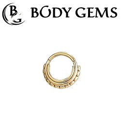 "Body Gems 14kt Gold Beaded ""Three Ring Circus"" Clicker Septum Daith Ring 14 Gauge 14g"
