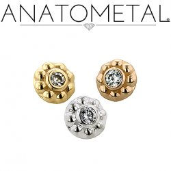 Anatometal 18kt Gold Threaded 5mm Ipsa Brilliant Cut Gem End 18g 16g 14g 12g