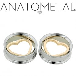 Anatometal Stainless Steel Eyelet 18Kt Gold Heart Insert 00g to 7/8""