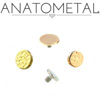 "Anatometal 18Kt Gold Threaded Disk End 3mm 4mm 3/16"" 18g 16g 14g 12g"