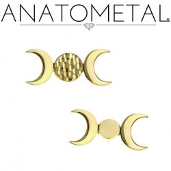 Anatometal 18Kt Gold Threaded Disk with 2 Crescent Moons 18g 16g 14g 12g