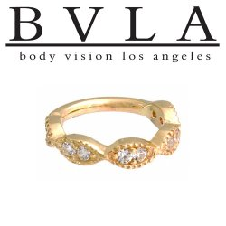 BVLA 14kt Gold Infinite Seam Hinge Ring CZ or Genuine VS Diamond 14g Body Vision Los Angeles