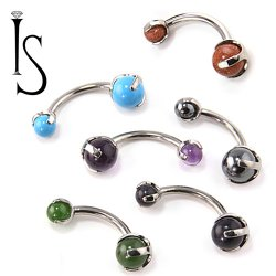 Industrial Strength Titanium Navel Curve Barbell Belly Button Ring with 3-Prong-set Natural Stone Gems 14 Gauge 14g