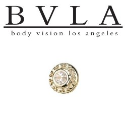 "BVLA 14Kt Gold ""Tiny Nanda"" VS Diamond Threaded End Dermal Top 18g 16g 14g 12g Body Vision Los Angeles"