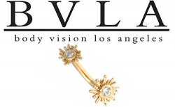 BVLA 14kt Sunshine CZ Curved Barbell 16g 14g Body Vision Los Angeles