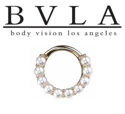 "BVLA 14kt Gold 2mm ""Gemmed Oaktier"" Nose Nostril Septum Ring 16g Body Vision Los Angeles"