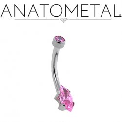 Anatometal Surgical Steel Marquis-Cut Gem Navel Curve 14g 12g