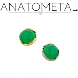 Anatometal 18kt Gold Threaded 4mm Prong-set Cabochon Gem End 18g 16g 14g 12g