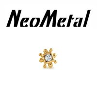 "18 Gauge 18g NeoMetal Threadless Square Bali 2mm Gem End 14kt 14 Karat Gold ""Press-fit"""