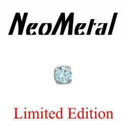 "18 Gauge 18g NeoMetal Limited Edition Threadless Titanium Prong-set Aquamarine Faceted Gem 1.5mm ""Press-fit"""