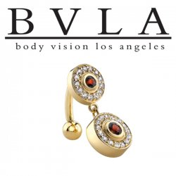 BVLA 14kt Gold Modena Garnet & Genuine Diamond Navel Curved Barbell 14 Gauge 14g Body Vision Los Angeles