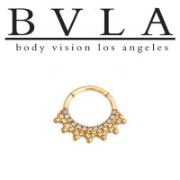 "BVLA 14kt Gold ""Auron"" Nose Nostril Septum Daith Clicker Hinge Ring 5/16"" 11/32"" 16 Gauge 16g Body Vision Los Angeles"