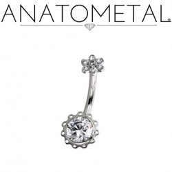 Anatometal Titanium Aurora Navel Curve Belly Button Ring 4.5mm Flower 14 Gauge 14g