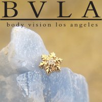 "BVLA 14kt Gold ""Snowflake"" Genuine Diamond Threaded End Dermal Top 18g 16g 14g 12g Body Vision Los Angeles"