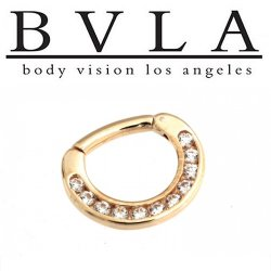 BVLA Symphony 14kt Gold Septum Ring Clicker 14g Body Vision Los Angeles