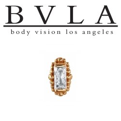 BVLA 14Kt Gold Beaded Baguette Threaded End Dermal Top 18g 16g 14g 12g Body Vision Los Angeles