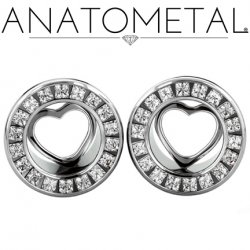 Anatometal Surgical Steel Princess Gem Bling Eyelet Tunnel Silver Heart Insert 00g to 7/8""