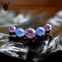 IS Titanium Odyssey Prium Prong set Faceted Gem Threaded End 18g 16g 14g 12g