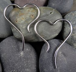 Little Seven Stainless Steel Heart Hangers Disentris 14g 12g 10g 8g 6g (Pair) 4g