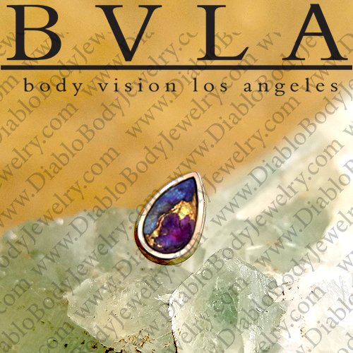 "BVLA 14kt Gold Bezel-set Small Pear Cabochon 4mm x 2.5mm Threadless End 18g 16g 14g ""Press-fit"" - Click Image to Close"
