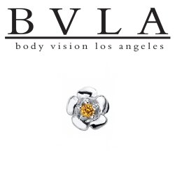 "BVLA 14Kt Gold ""Buttercup"" with 1.5mm Prong-set Gem Threaded End Dermal Top 18g 16g 14g 12g Body Vision Los Angeles"