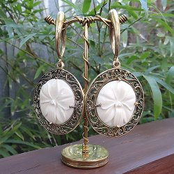 0 Gauge Brass Ear Weight Hangers with Carved Bone White Orchid Medallions (one pair)