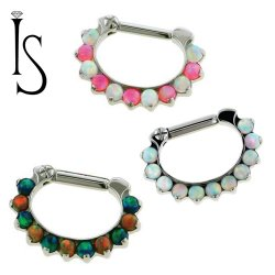 Industrial Strength Odyssey Titanium 2mm Faux-pal Cabochon Gem Septum Clickers 16g 14g 12g