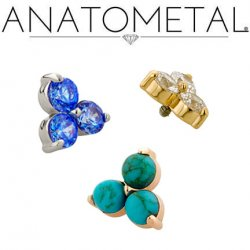 Anatometal 18kt Gold Trio Threaded End 3mm Gems 18g 16g 14g 12g