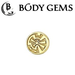 Body Gems 14kt Gold Crop Circle Threaded End Dermal Top 18 Gauge 16 Gauge 14 Gauge 12 Gauge 18g 16g 14g 12g