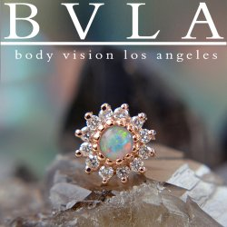 "BVLA ""The Rose"" 5mm Dermal Anchor Top Gold Threaded End 14kt Gold 18g 16g 14g 12g Body Vision Los Angeles"