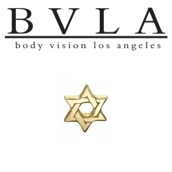 "BVLA 14kt Gold ""Star of David"" Threadless End 18g 16g 14g Body Vision Los Angeles ""Press-fit"""