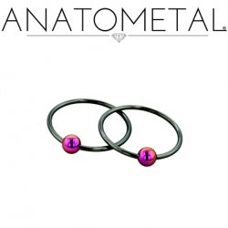 Anatometal Niobium Captive Ring with Titanium Bead 14 Gauge 14g