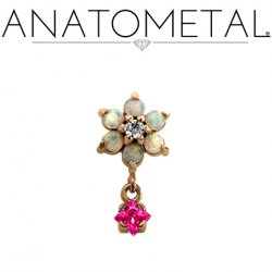 Anatometal 18kt Gold Threaded Flower End 1.5mm Gems 2mm Princess-cut Gem Dangle 18g 16g 14g 12g