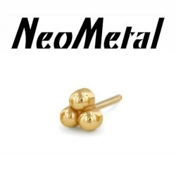 "14 Gauge 14g NeoMetal Threadless 3-ball End 14kt 14 Karat Gold ""Press-fit"""