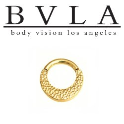 "BVLA 14kt Gold ""Quarencia"" Septum Clicker Hinged Ring 12 Gauge 12g Body Vision Los Angeles"