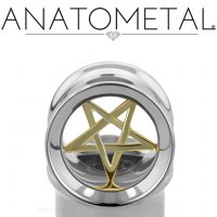"Anatometal Stainless Steel Eyelet Bronze Pentagram Insert 7/16"" to 7/8"""