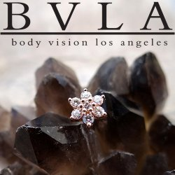 BVLA 14kt 18kt Yellow White Rose Gold Flower Genuine VS Diamond Gem Threaded End 18g 16g 14g 12g Body Vision Los Angeles
