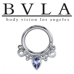 "BVLA 14kt Gold Eden Pear Nose Nostril Septum Ring 14g 5/16"" 3/8"" Body Vision Los Angeles"