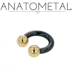 Anatometal Niobium Circular Barbell with Titanium Ball Ends 6 Gauge 6g