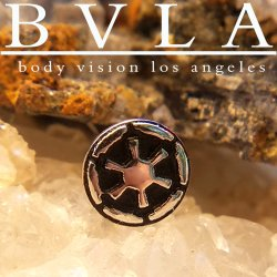 "BVLA 14Kt Gold ""Empire Cog"" Threaded End Dermal Top 18g 16g 14g 12g Body Vision Los Angeles"