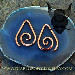 Little Seven Copper Square Tear Spirals 12g 10g 8g 6g (Pair)