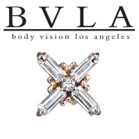 "BVLA 14Kt Gold ""Gaia"" 7.5mm Threaded End Dermal Top 18g 16g 14g 12g Body Vision Los Angeles"