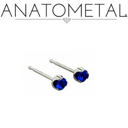 Anatometal Titanium 1.5mm Prong-set Gem Earrings (Pair)