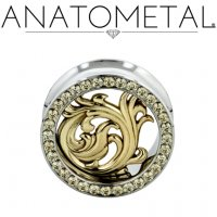 "Anatometal Surgical Steel Gemmed Eyelet ""Nouveau"" Bronze insert 1/2"" to 7/8"""
