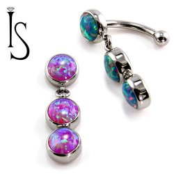 IS Titanium Fixed Top Bezel-set Faux-pal Cab Gem Curved Barbell w/ (2) 6mm Dangles 14 gauge 14g